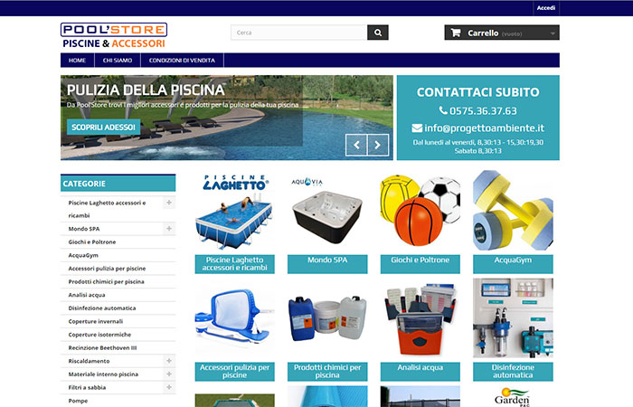 vendita on line di accessori per piscine